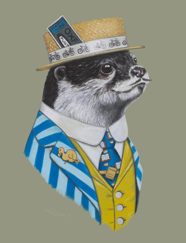Alma Mater Otter, my quirky take on an Oxford Student, ready for a day out on the river. Mainly pastel, with gold and silver ink highlightsProfessionally mounted and framed, and measuring 52cm by 64cm overall, priced at £440