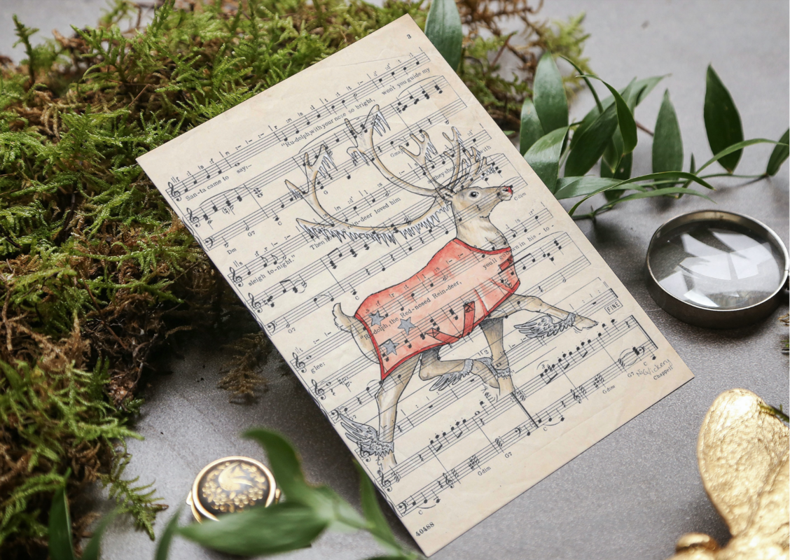 This Christmas I have used vintage sheet music as the background to my cards. This is of course Rudolph the Red Nosed Reindeer on his own song. A5 sized, available from my website