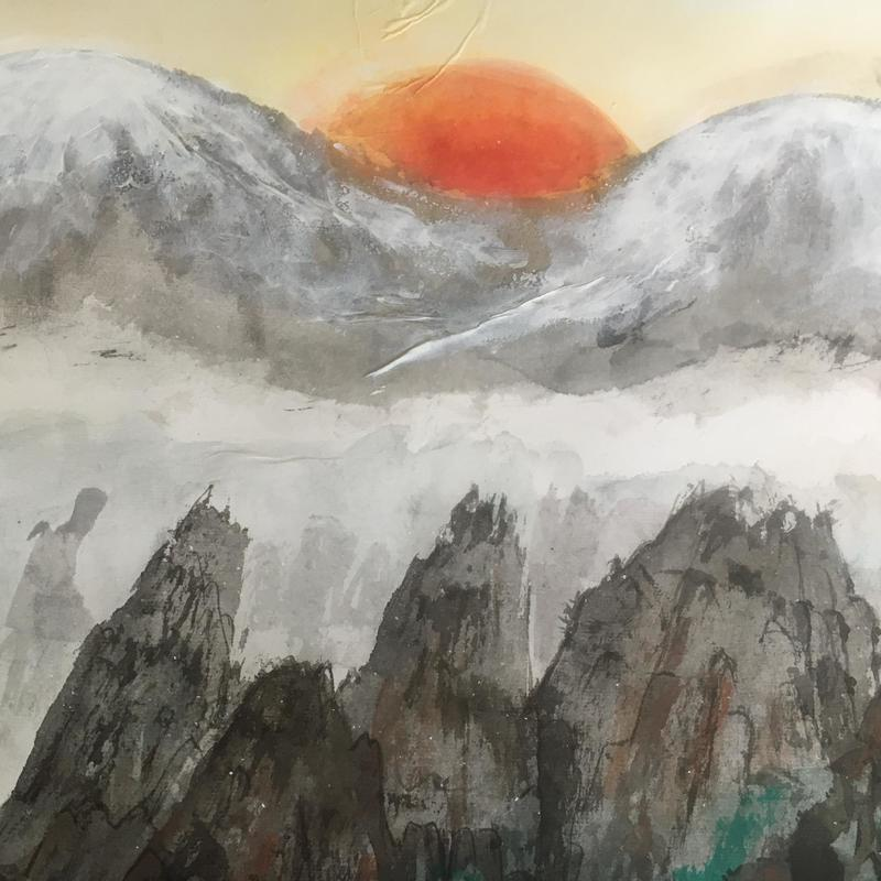 Detail from Xanadu :  Chinese ink and watercolour 95cm x 63cm Framed