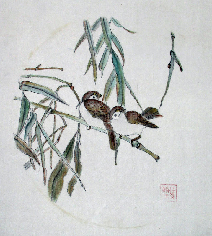 Sparrows:  Ann Massing:  Chinese Ink and Watercolour on Silk