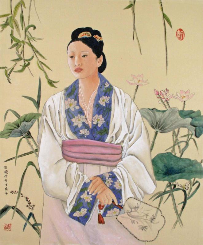 Beside the Lotus Pond:  Ann Fairchild : Chinese Ink and Watercolour on silk