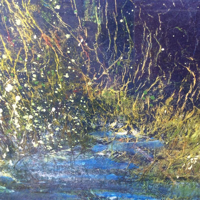 Fireflies: collage/mixed media: 93cm x 62cm Framed has