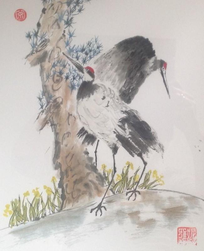 Two Cranes and a Pine Tree:  Allyson Potter: from a Workshop by Shuhua Jin: Chinese Ink and Watercolour