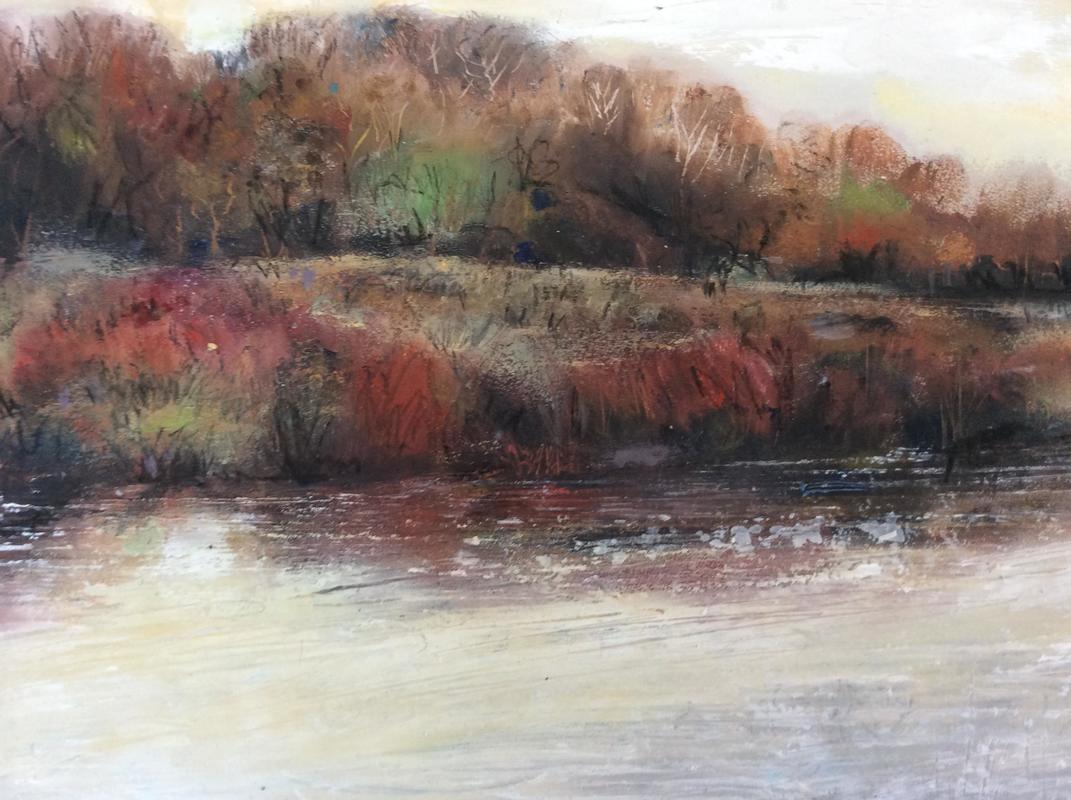 Autumn Glow: The Thames: Oil on Board