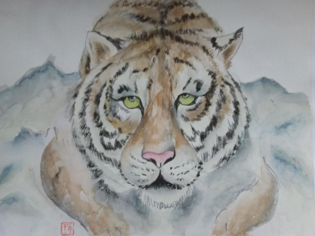 Tiger, Tiger, Burning Bright:  Jean Turton:  Chinese Ink and Watercolour on silk