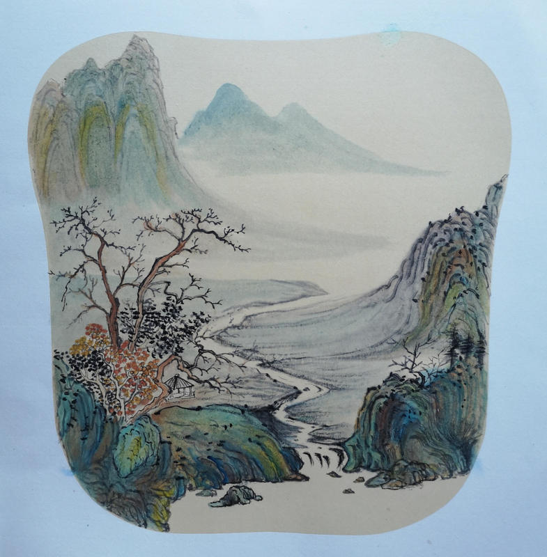 The Meandering Stream: Jing Li : 50cm x 50cm Chinese Ink and Watercolour on Xuan