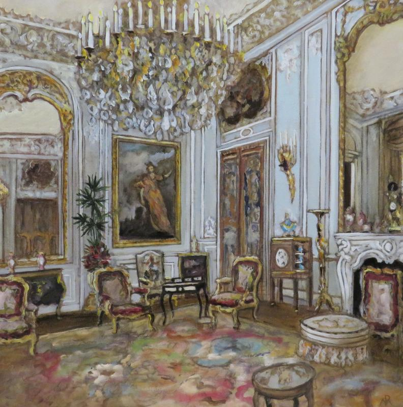 Wadddesdon Manor, Grey Drawing Room. 61 cms square oil on canvas