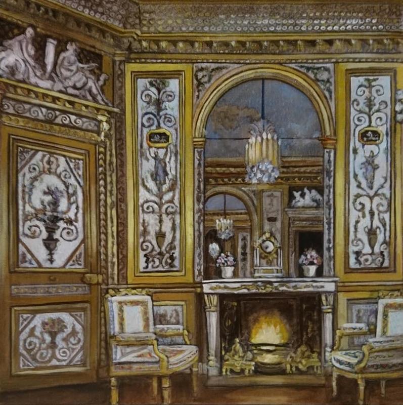 Marie Antoinette's Boudoir at Fontainbleau. 61 cms square oil on canvas.