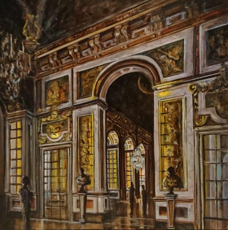 Versailles, Salon de la Paix. 100cms square oil on canvas.i