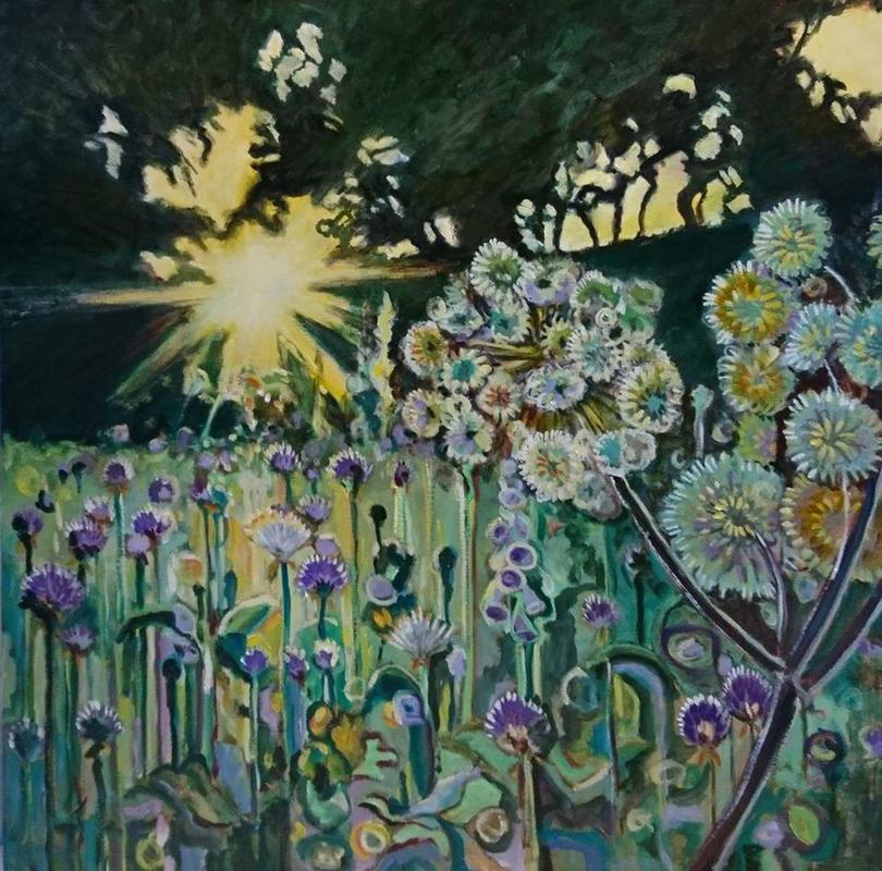 Sun rise over the garden. 100cms square oil on canvas.