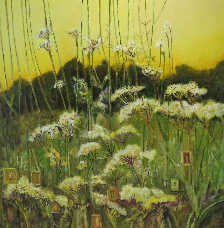 Cow parsley. 100cms square oil on canvas.