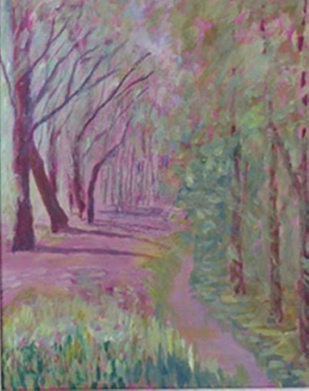 Acrylic painting inspired by a walk in the woods