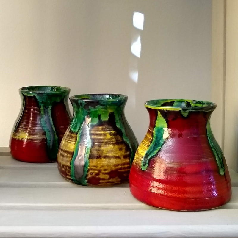 Red and Copper beakers   H9cm  £30 each plus p&p