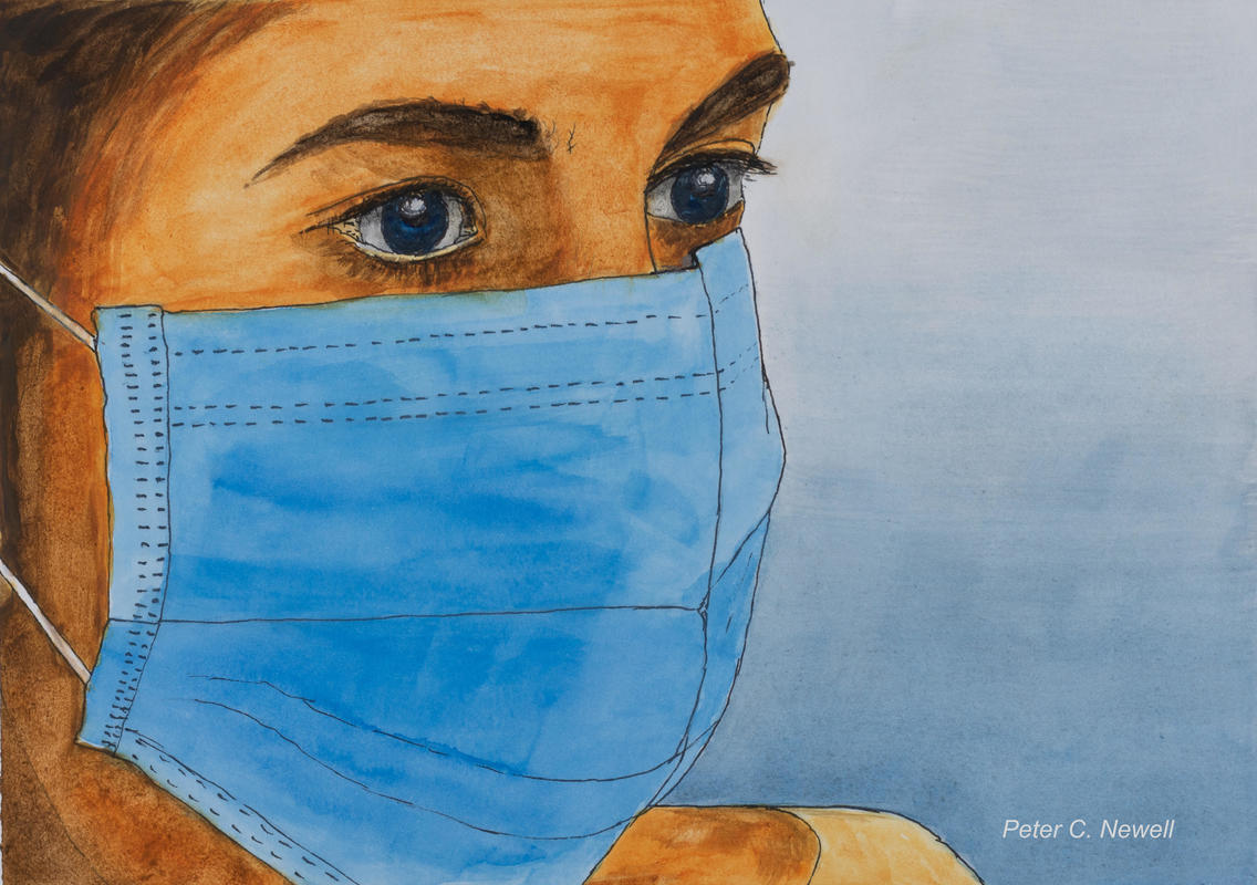 A brave nurse looks out from behind her mask (Pen & Watercolour)