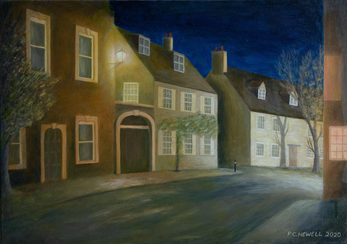 Park Street, Woodstock, UK, at night (Oils)