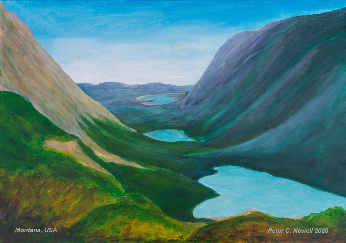 Looking back at the lakes on a hike in Glacier National Park, Montana, USA (Acrylics)