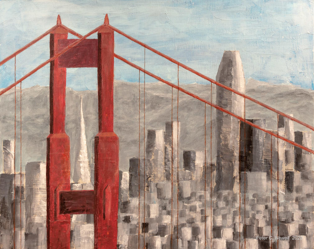 San Francisco seen through the Golden Gate Bridge (Acrylics/Collage)