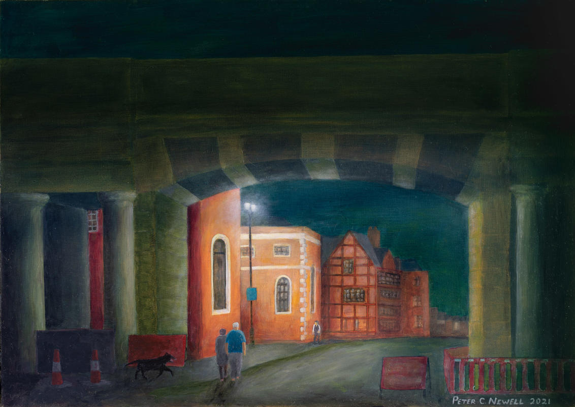 The Northgate, Chester visited in daylight, but imagined in this painting as if by night  (Oils)
