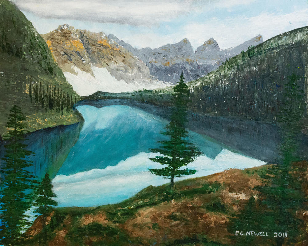 Reflective lake, using palette knives (Acrylics)