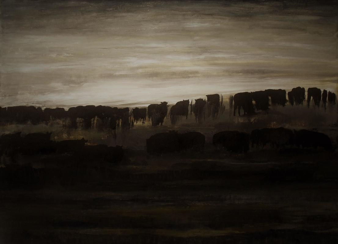 Cattle in Dawn Light at Wytham, Oxfordshire.   Acrylic on paper.   23.4 x 33.1inches.   2020.