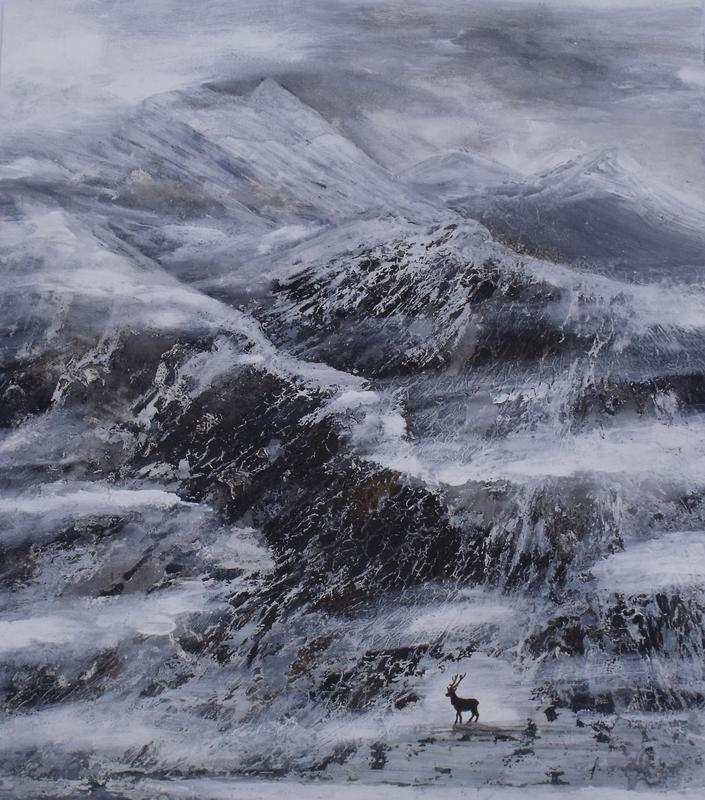 Lonely Stag in the Cairngorms.   Acrylic on paper.   2015.