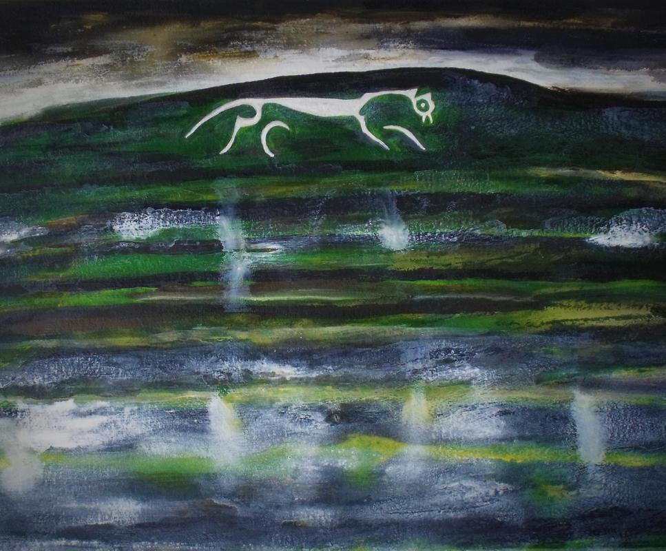 White Horse at Uffington. Winter Rain.   Acrylic on paper.   19 x 24inches.   2020.