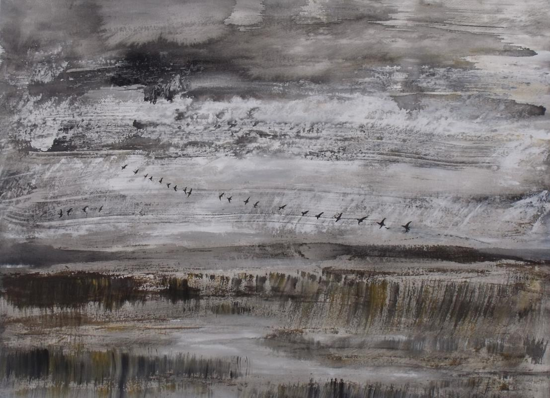 Over the Marshes and Far Away. Otmoor, November 4th.   Acrylic on paper.  2020.   23.4 x 33.1 inches.