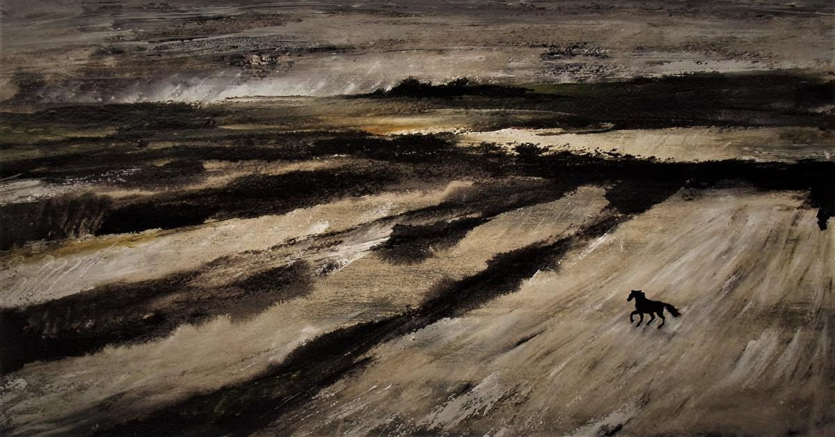 Where the West Wind Blows.  Near Old Warren, Wiltshire.    Acrylic on paper.    14 x 33.1 inches.    January 2021.    Acrylic on paper.    2021.
