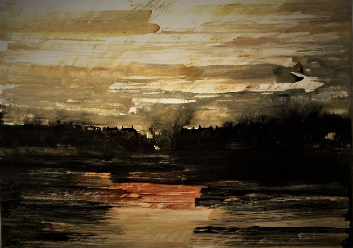 Rose Hill Sky Line, Oxford, Dusk January.   Acrylic on paper.  23.4 x 33.1 inches.   2021.