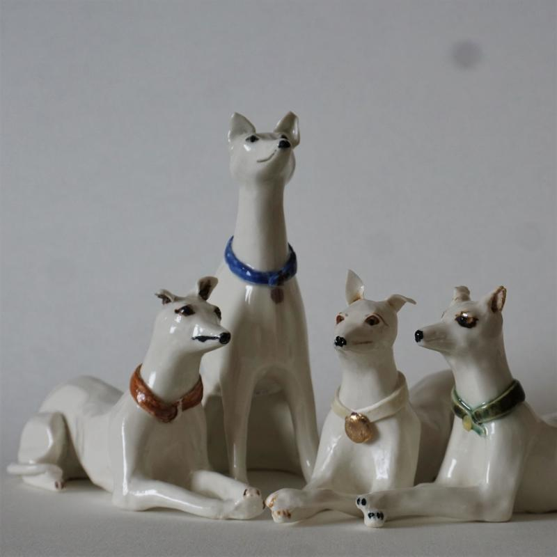 Whippets enjoying each others company, slipcast porcelain  £45 each