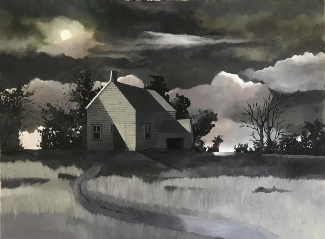 House in moonlight. Oil on canvas.