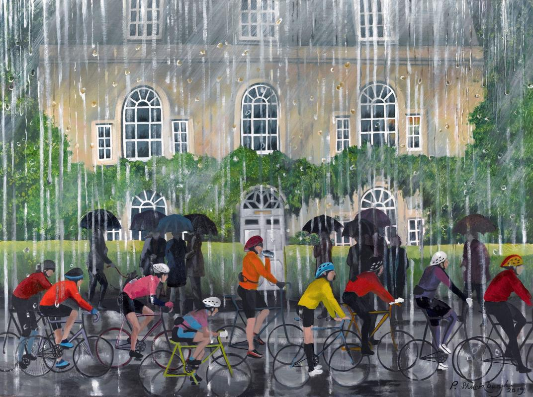 Cyclists in the rain. Oil on canvas.