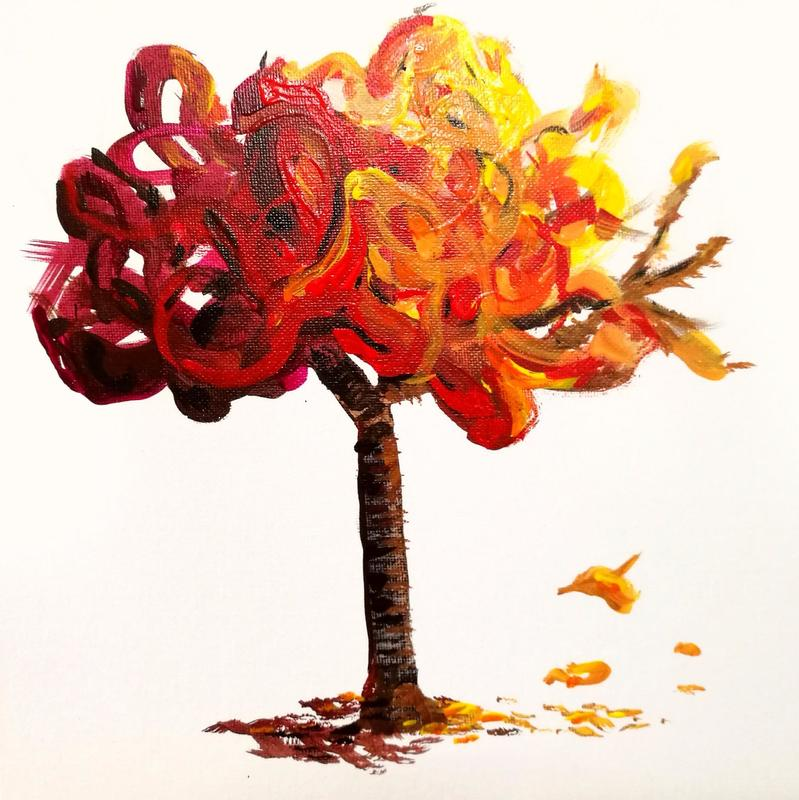 "Sunlight on an autumn tree. 12"" x 12"". £100"