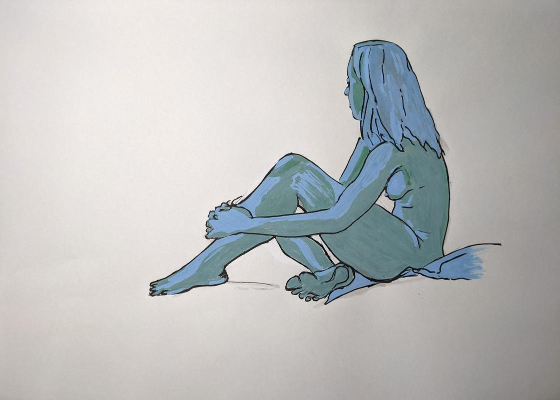 Seated blue. £100