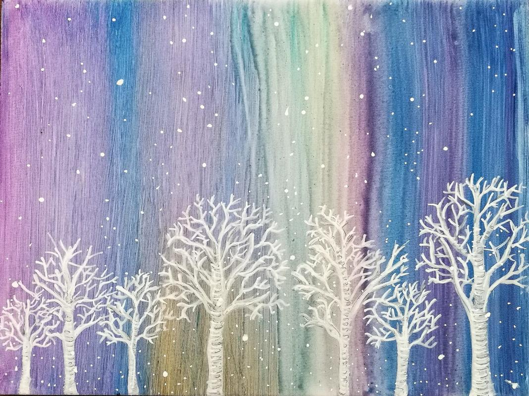 "Winter trees on a snowy night. 7"" x 9.5"". £100"