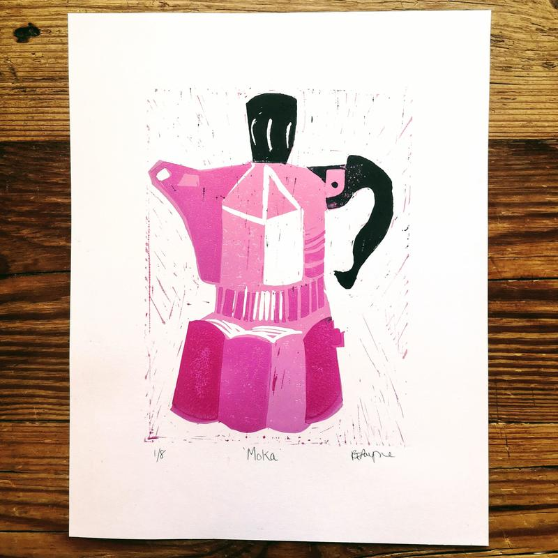 Bright Pink Moka Pot. 3 block lino print