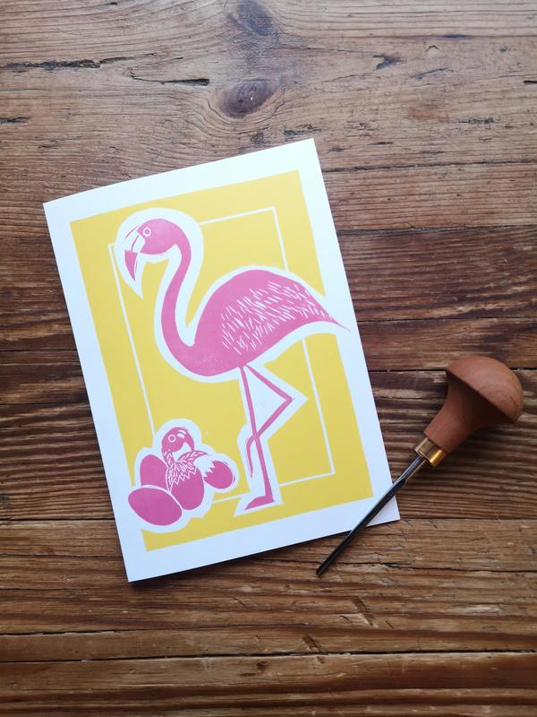 Flamingo Easter Card 2 block lino print