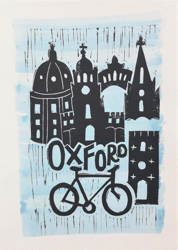 'Oxford'. Lino print on watercolour background. A5, not for sale