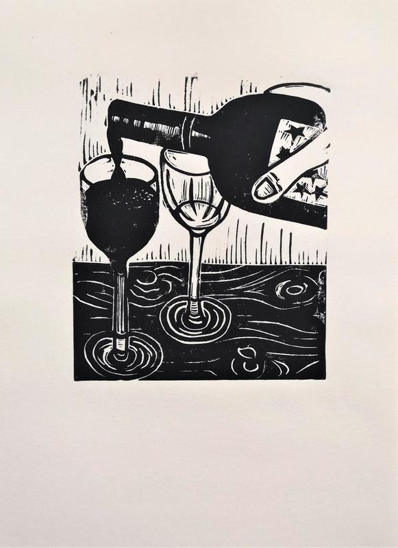 'Time to Wine Down'. Lino print, A4, £14