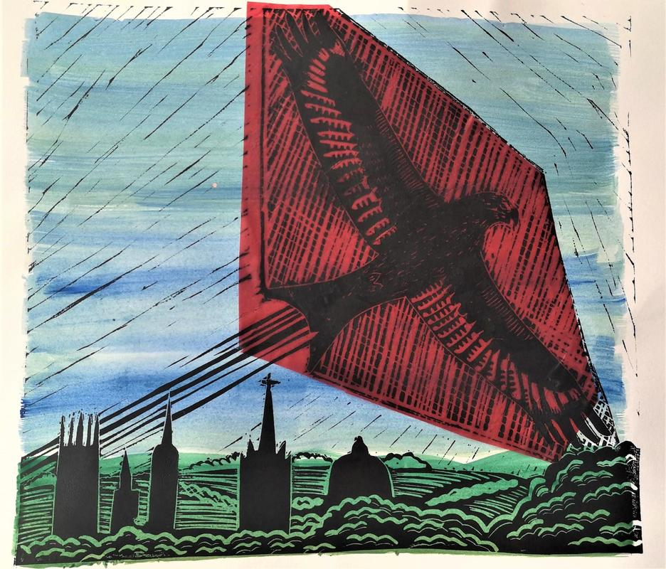 'Red Kite over Oxford' Lino print on watercolour and colle background, 21cm x 25cm, £18