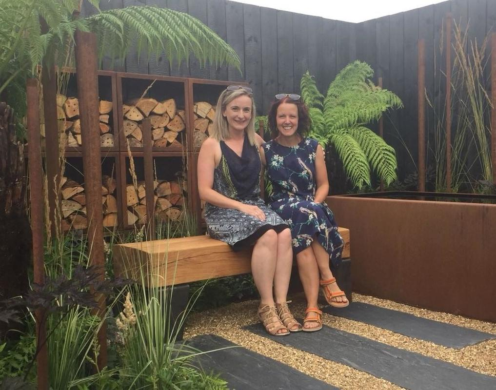Oak and Steel bench at Briony Doubleday's RHS Tatton Park Garden