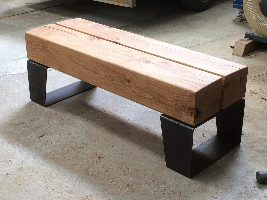 Oak and Steel bench