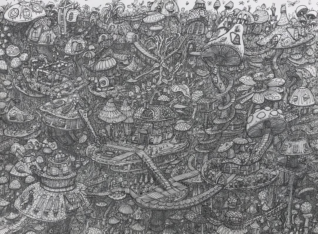 The Land that Cordyces Built, pencil drawing