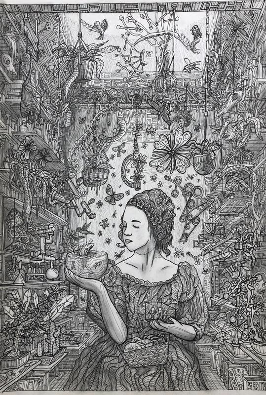 The Menagerie, pencil drawing