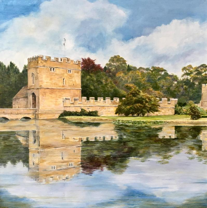 Broughton Castle, Moat  and Gatehouse.  Acrylic .  64 x 64 cms. Framed.  £595
