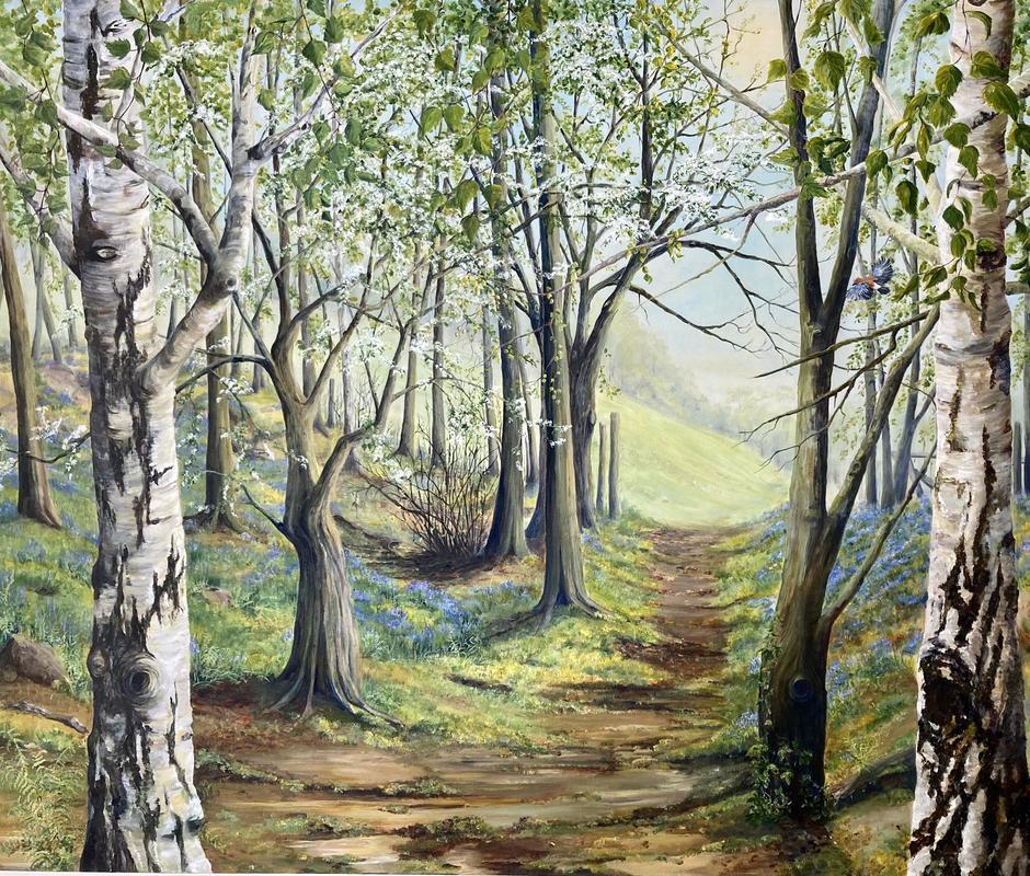 Bluebell Wood. Acrylic on box canvas 120 x 100 cms.  £1750