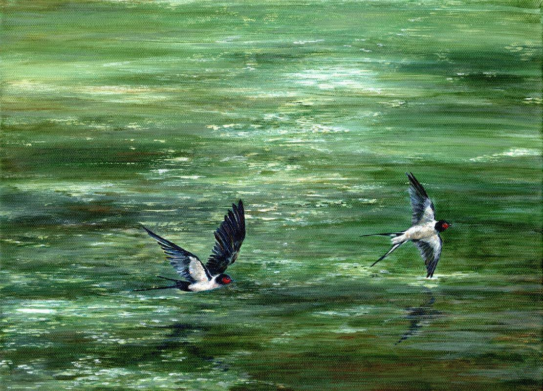 Swallows over the Moat. Acrylic. 46 x 35 cms. Framed.  £345