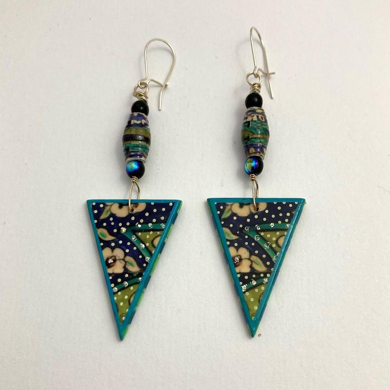 Syrian tiles - drop earrings photomontage/handpainted (7cms) £32