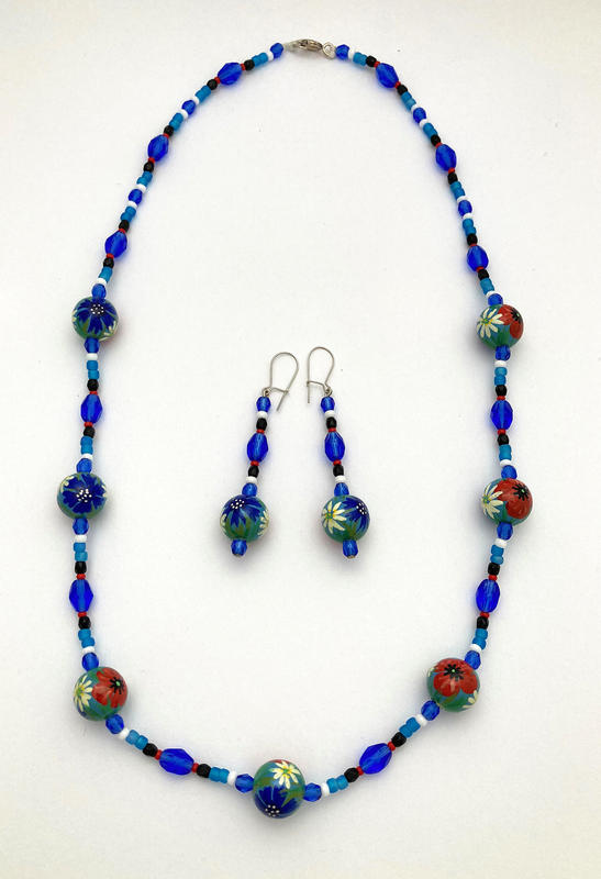 Meadow Flowers - hand painted necklace (53cms) & earrings (6cms) £77 set