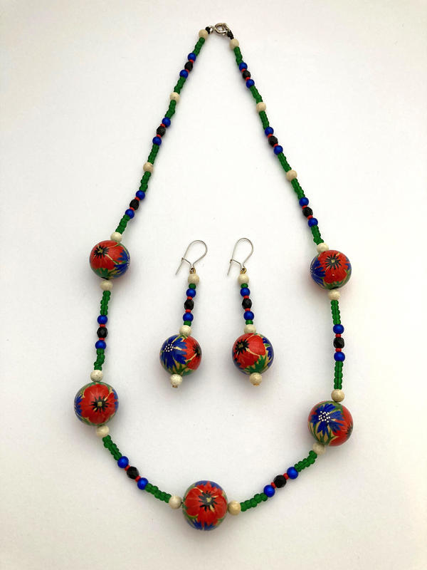 Meadow Flowers - hand painted necklace (48cms) & earrings (6cm) £75 set